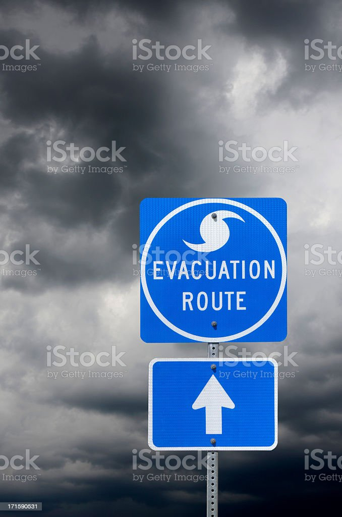 Evacuation Route Road Sign stock photo