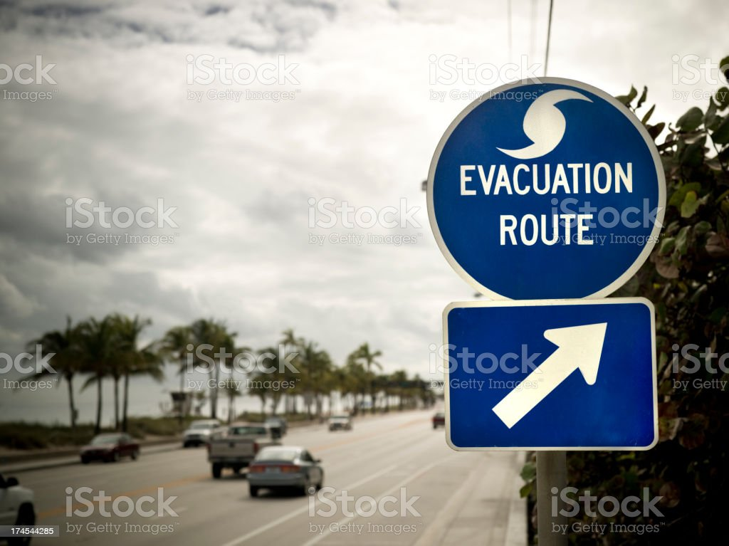 Evacuation Route sign in Florida stock photo