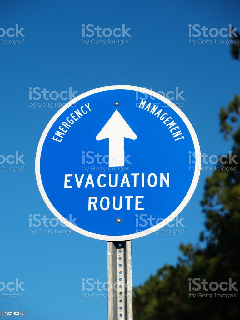 Evacuation route sign royalty-free stock photo