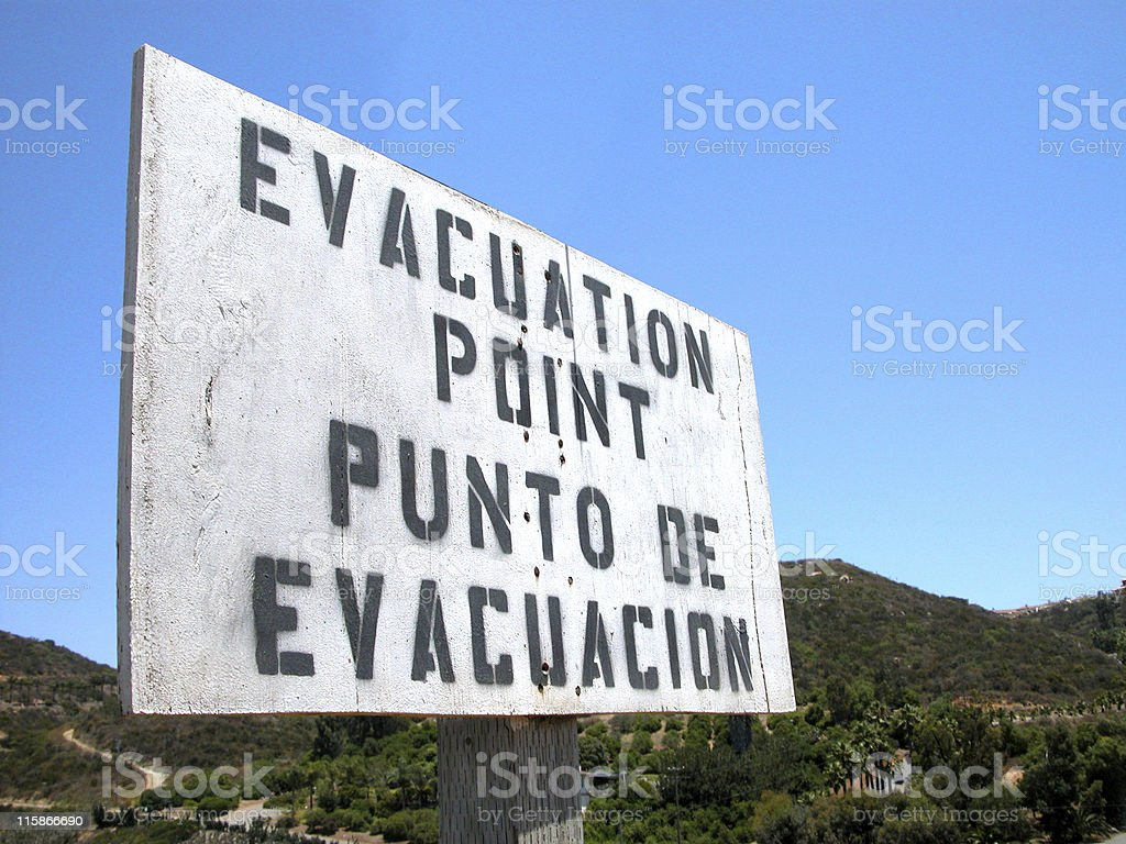 evacuation sign stock photo