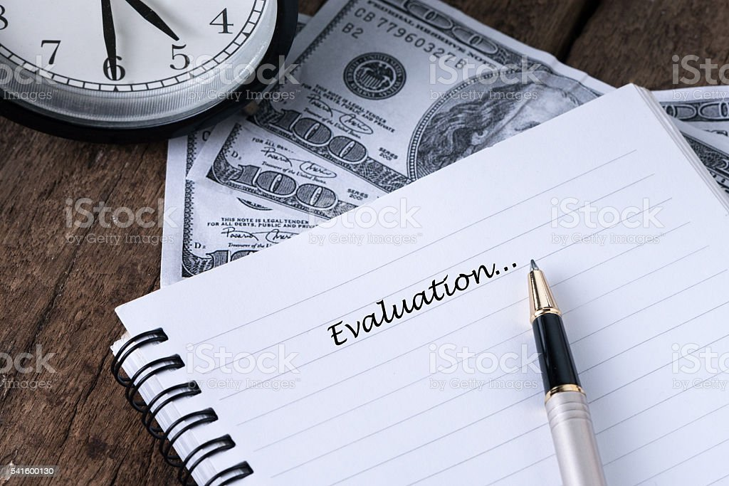 Evaluation Now With Text Writing-Concept Photo. stock photo