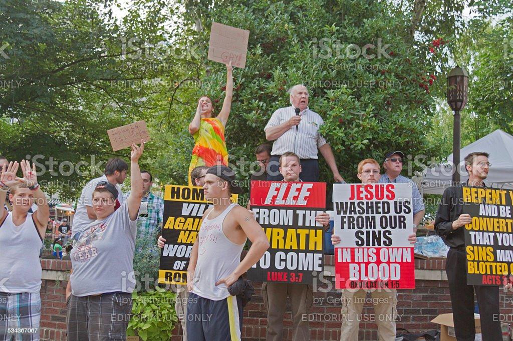 Evangeical Christians vs Homosexuality stock photo
