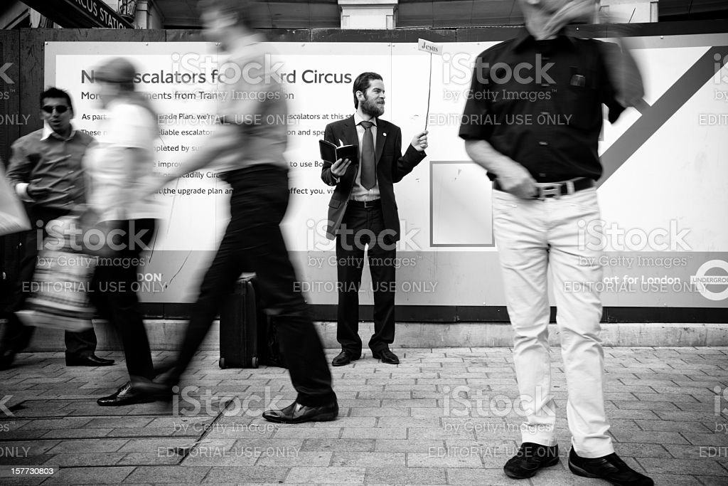 Evangelical street preacher in London stock photo