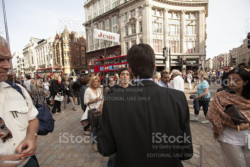 Evangelical street preacher in London stock photo