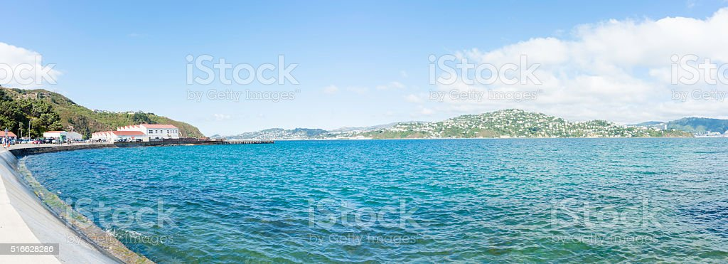 Evans Bay from Shelly beach Road Wellington stock photo