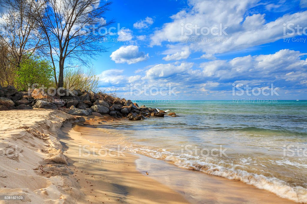 Evanston lighthouse beach stock photo