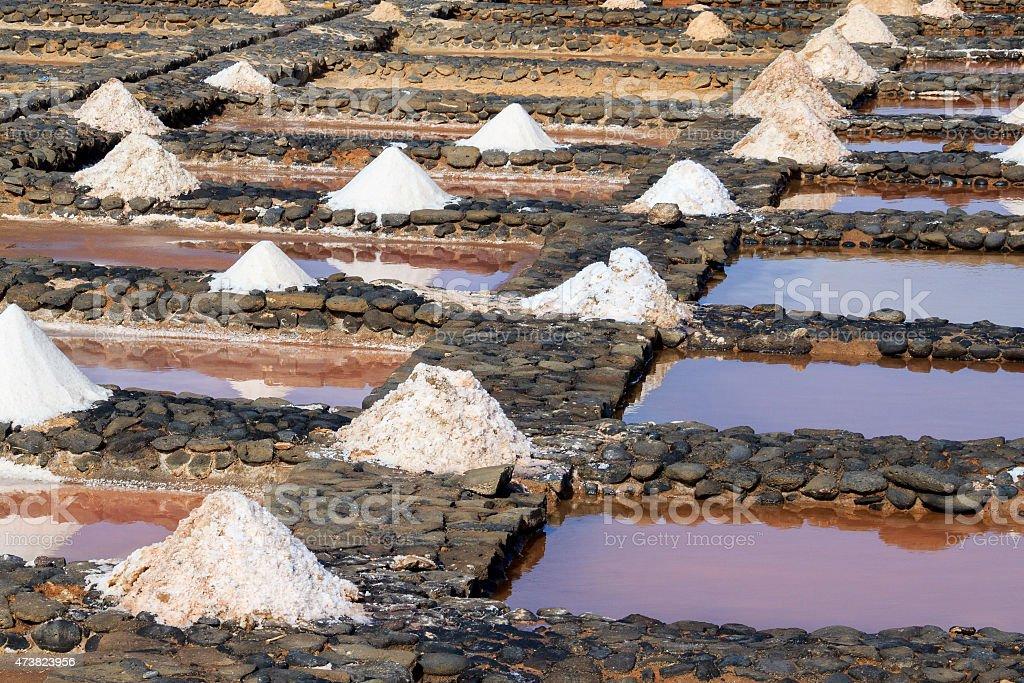Evaporation ponds for sea salt production stock photo