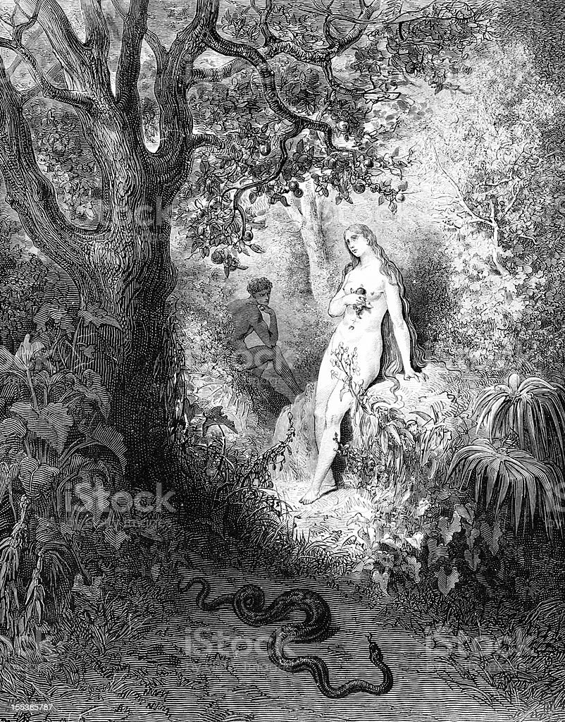 Eve seduced by snake royalty-free stock photo