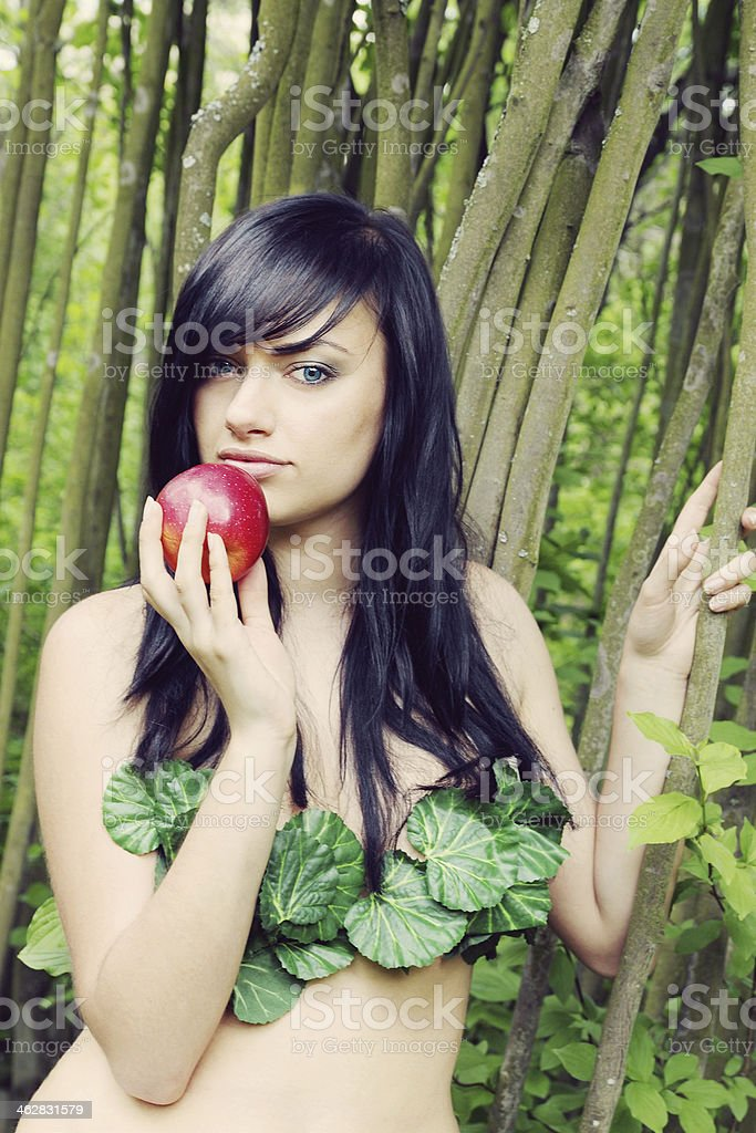 Eve with an apple stock photo