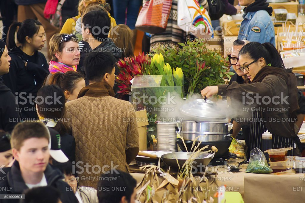 Eveleigh Farmers Market - Billy Kwong stock photo