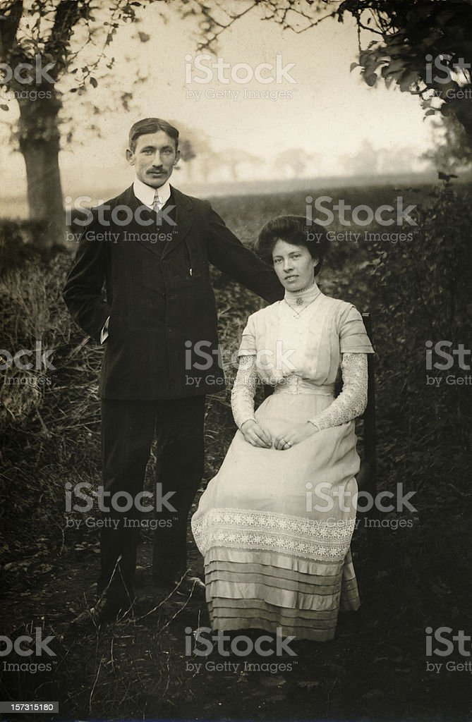 Even grandparents were young once - newlywed Edwardian couple stock photo