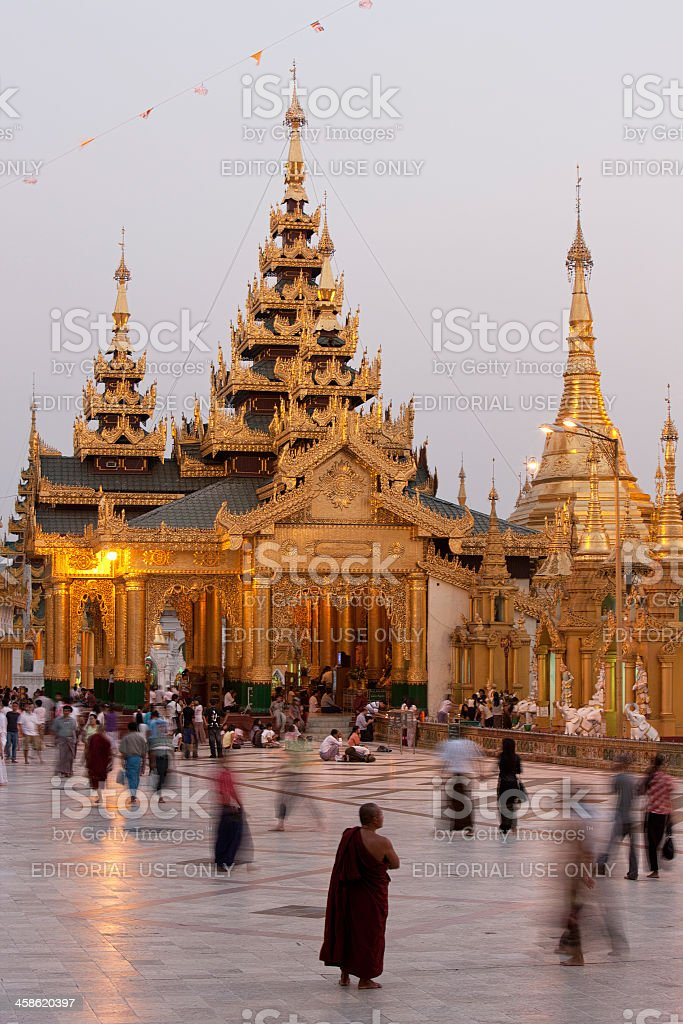 Evening activities at Schwedagon Pagoda, royalty-free stock photo