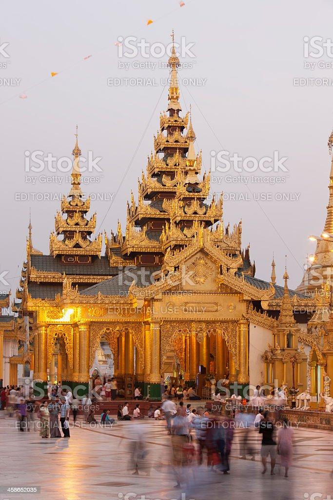 Evening activities at Schwedagon Pagoda, stock photo