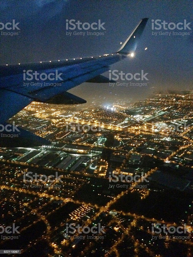Evening Aerial View of Los Angeles California from Plane Flight stock photo