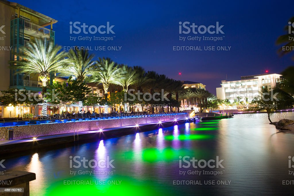 Evening along waterfront of Camana Bay on Grand Cayman stock photo