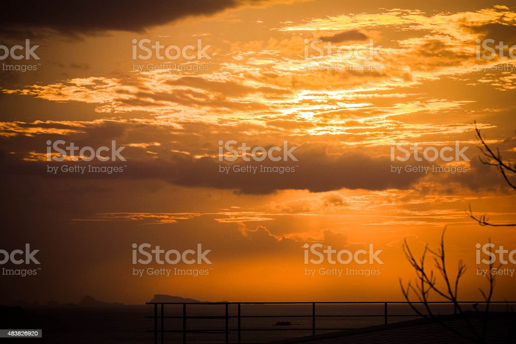 Evening at dramatic sky in Halloween day stock photo