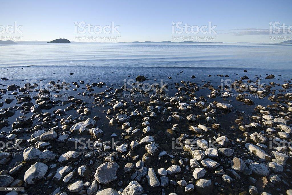 Evening at Lake Taupo stock photo