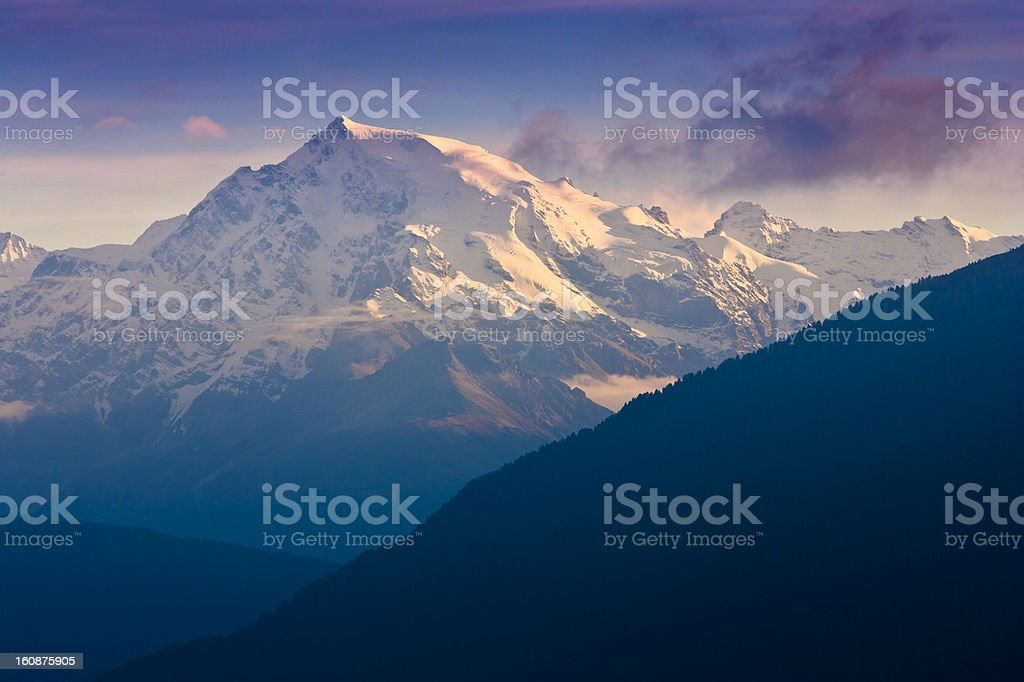 Evening at Mount Ortler stock photo