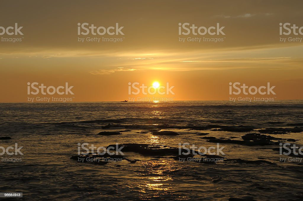 Evening at Rocky Coastline stock photo