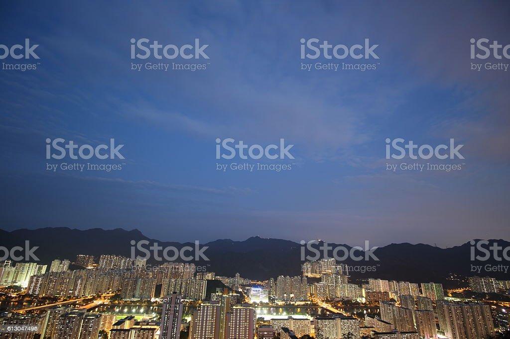 Evening at Shatin, New Territories, Hong Kong stock photo