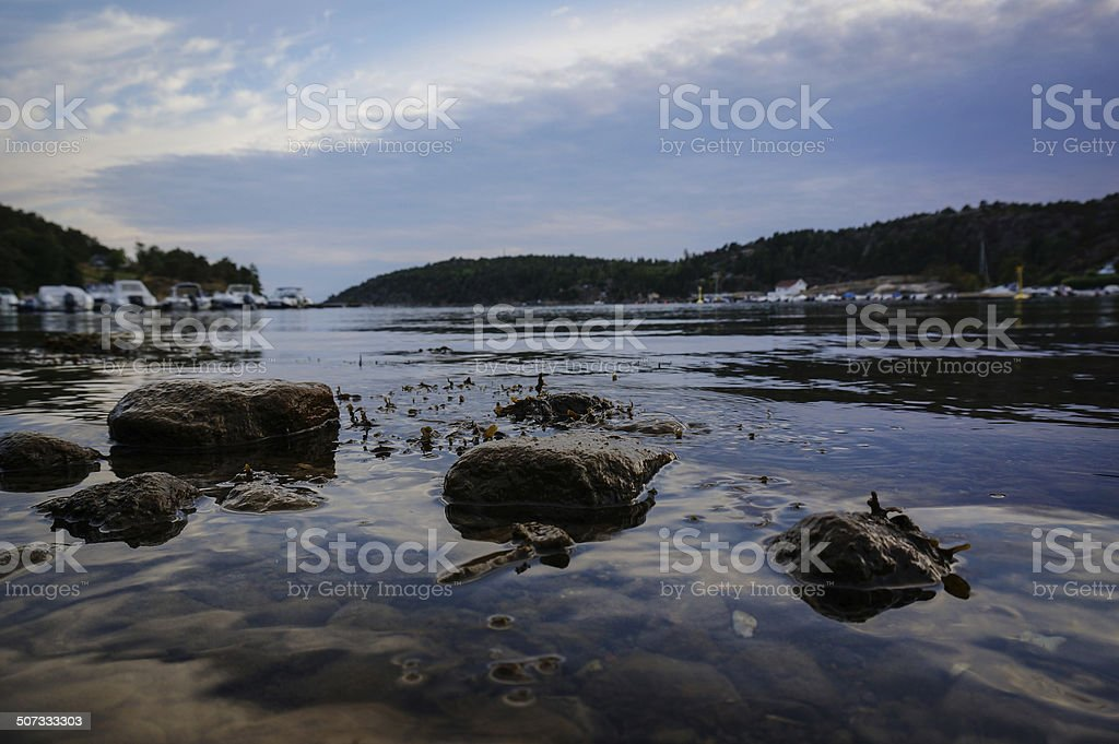 Evening at small bay in Norway royalty-free stock photo