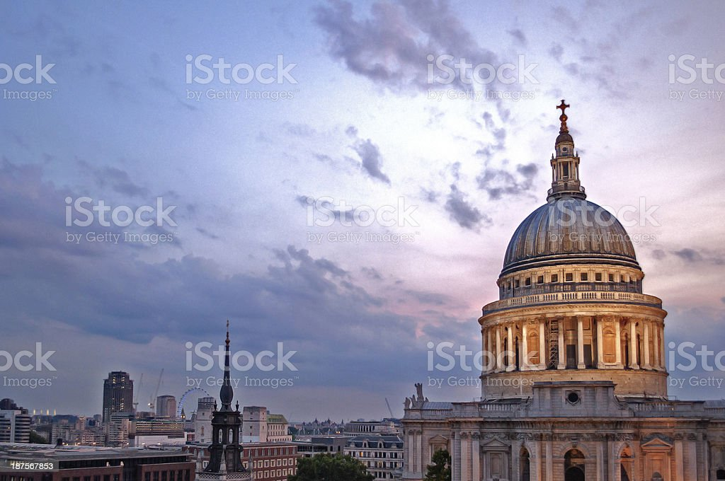 Evening at St Paul's stock photo