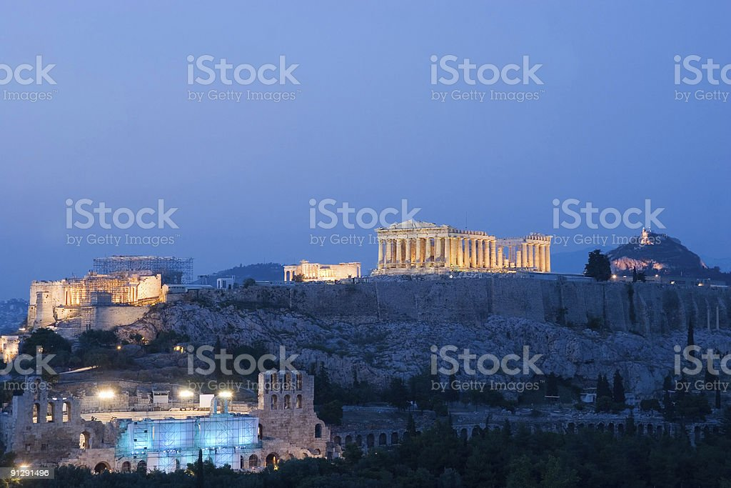 Evening at the Acropolis, in Athens, Greece royalty-free stock photo