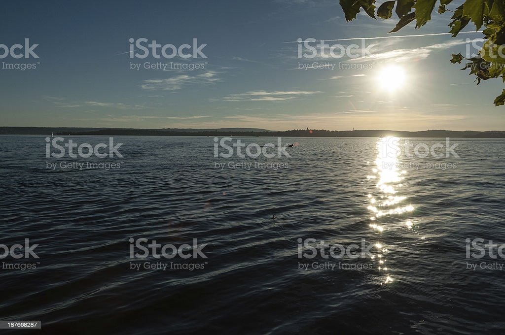 Evening at the beach of Meersburg on Lake Constance stock photo