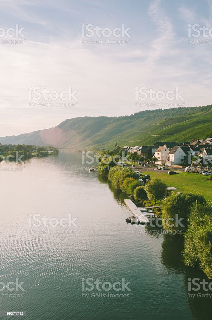 Evening at the Moselle in Germany stock photo