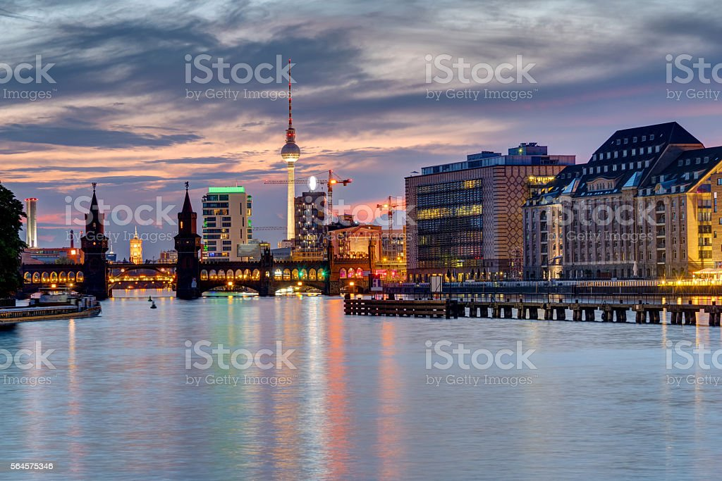 Evening at the river Spree in Berlin stock photo