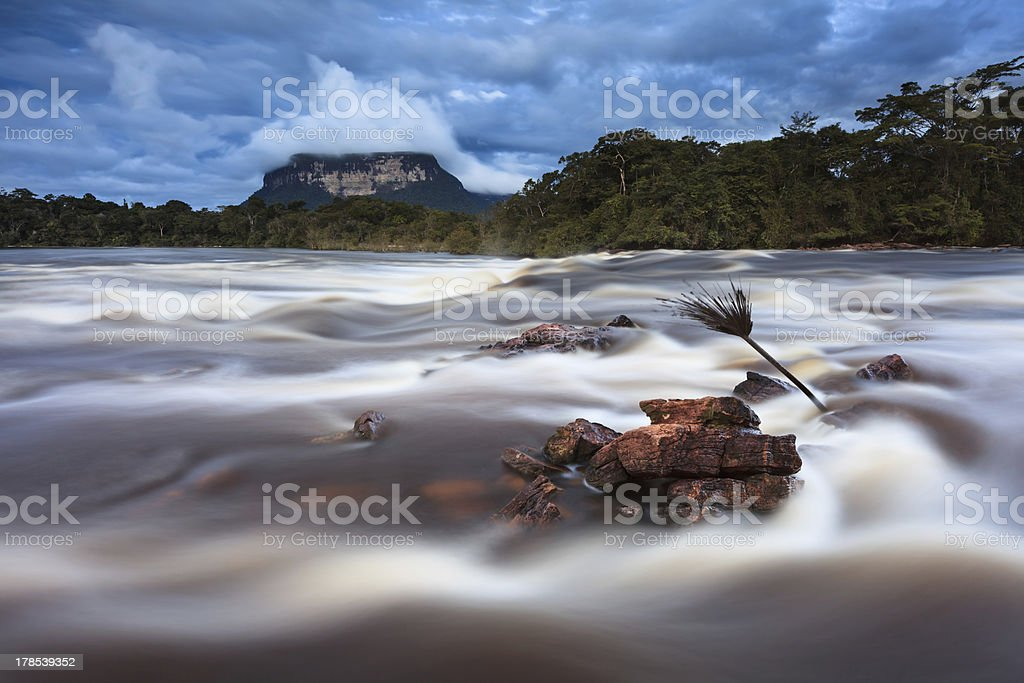 Evening at the river ,Venezuelan Jungle, Highland of Guiana royalty-free stock photo