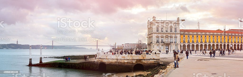 Evening at the Tagus river stock photo