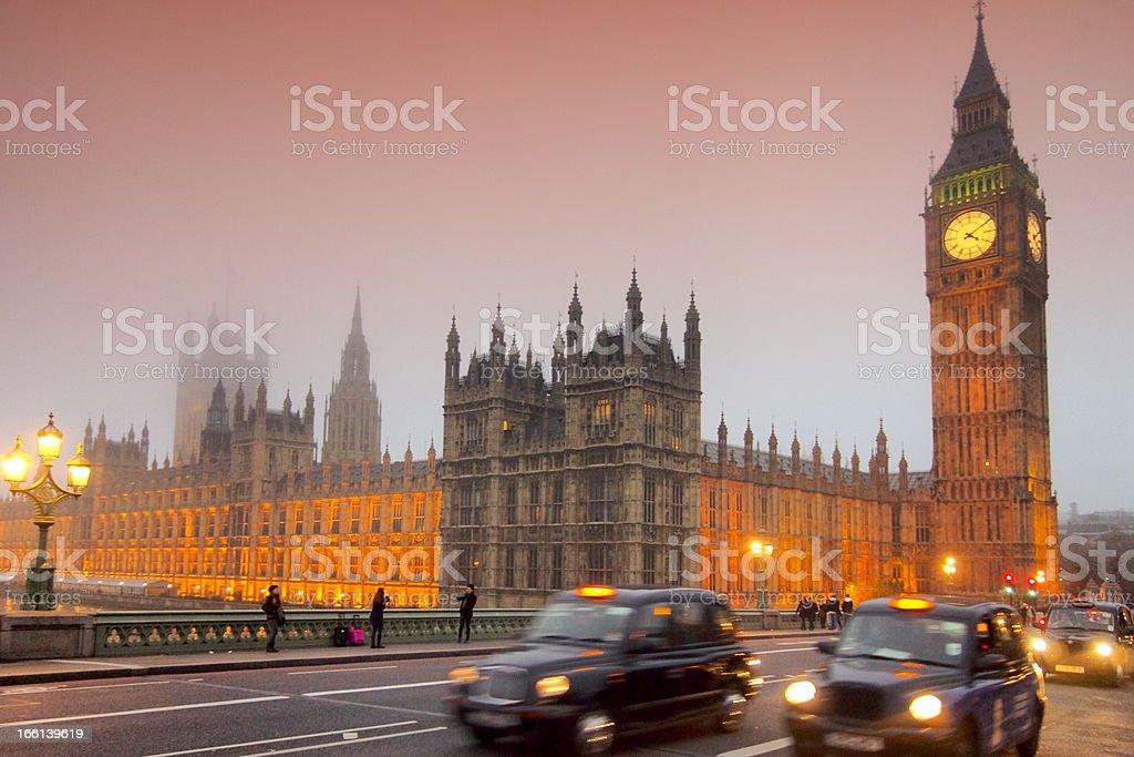 Evening at Westminster bridge stock photo