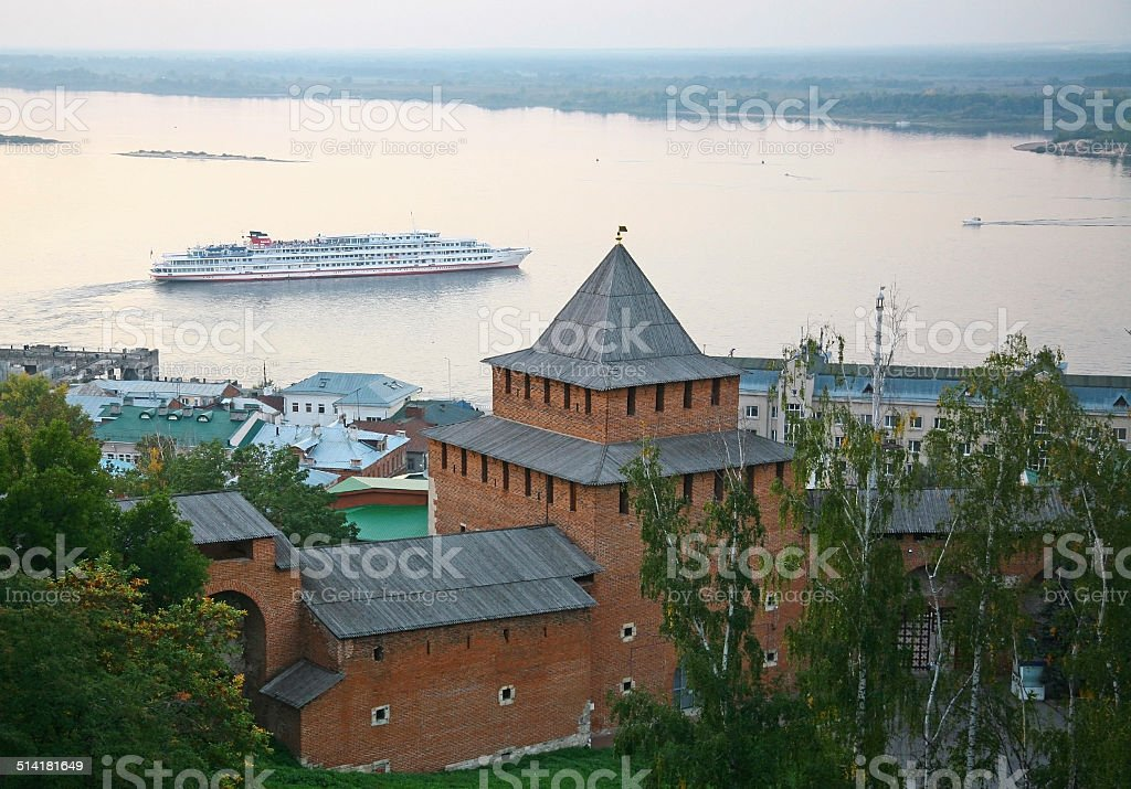 Evening autumn cruise on Volga river in Nizhny Novgorod stock photo