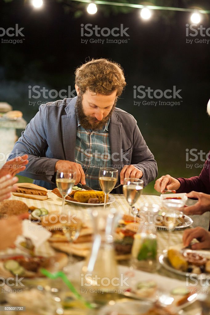 Evening barbecue party stock photo