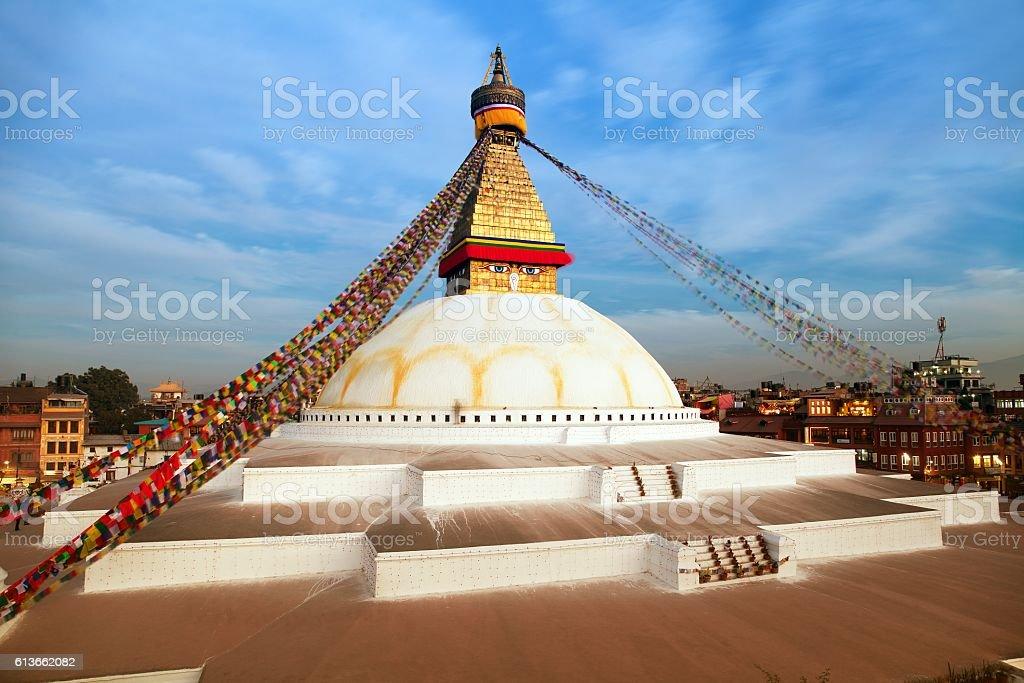 Evening beautiful view of Bodhnath stupa - Kathmandu - Nepal stock photo