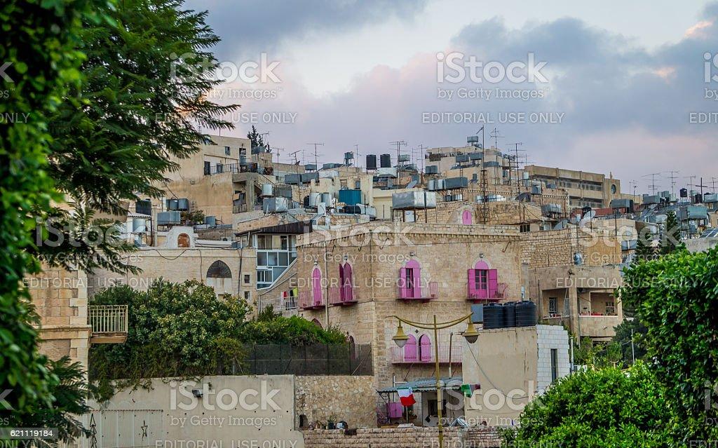 Evening Bethlehem. The Holy Land stock photo