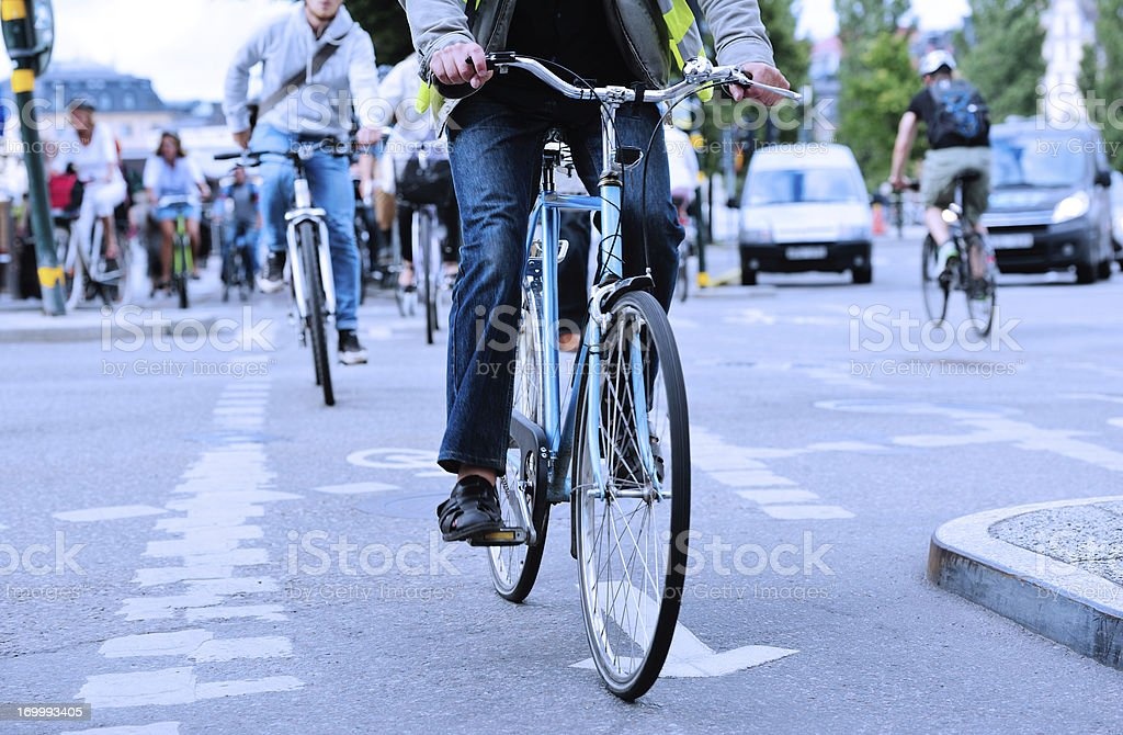 Evening bike traffic royalty-free stock photo