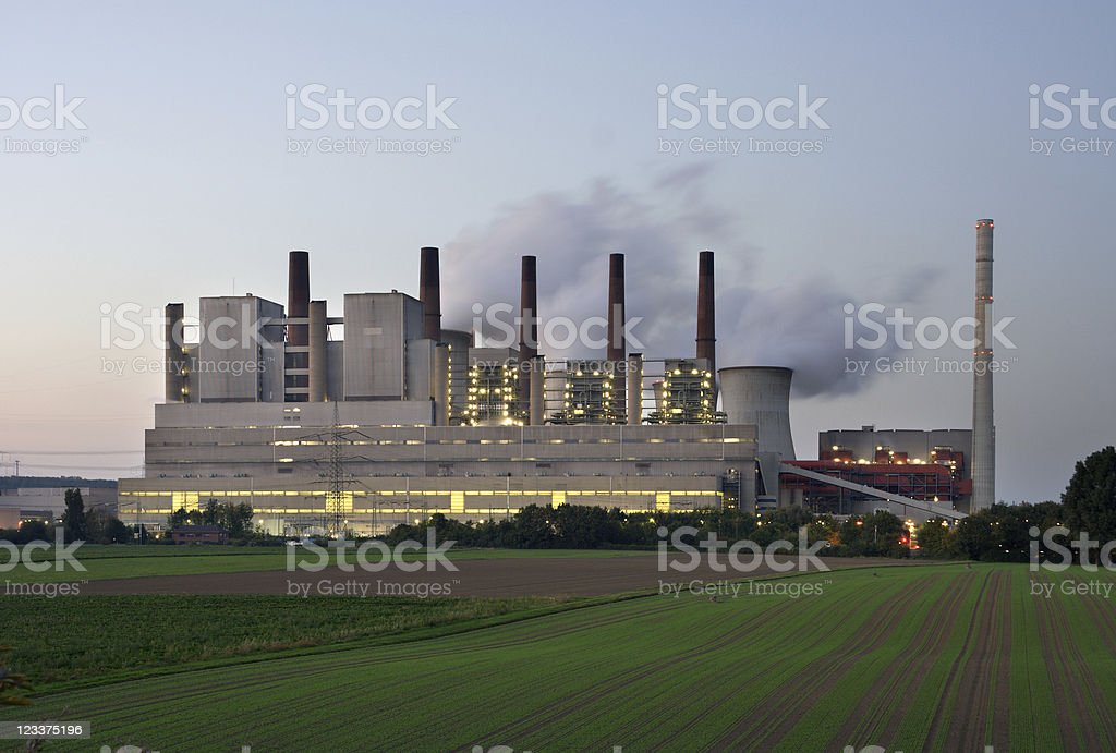 Evening Brown Coal Power Station stock photo