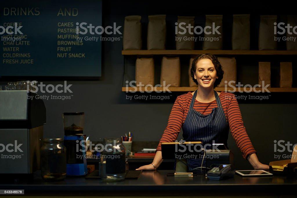 Evening cafe stock photo