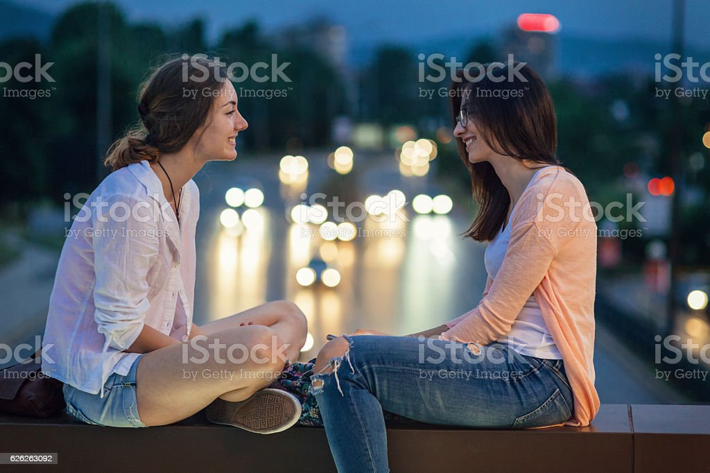 Evening chit-chat stock photo