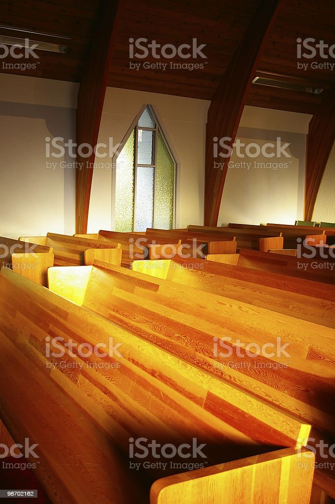 Evening Church Pews royalty-free stock photo