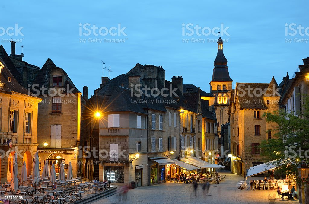 Evening cityscape of the French town Sarlat stock photo