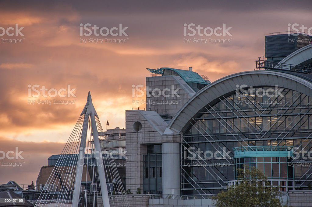 Evening clouds over Charing Cross London stock photo