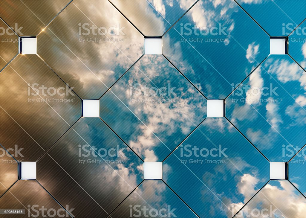 Evening cloudy sky reflection on solar panel. 3d rendering. stock photo