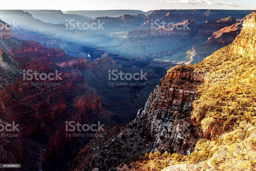 Evening Colorado River in Grand Canyon ,evening, Arizona USA stock photo