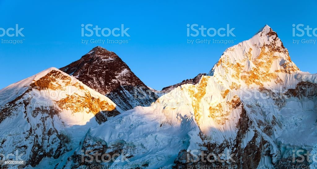 Evening colored view of Mount Everest  and Nuptse from Kala Patthar stock photo