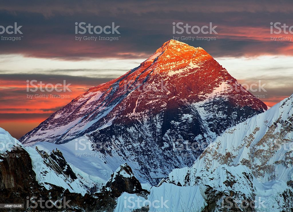Evening colored view of Mount Everest from Gokyo Ri stock photo