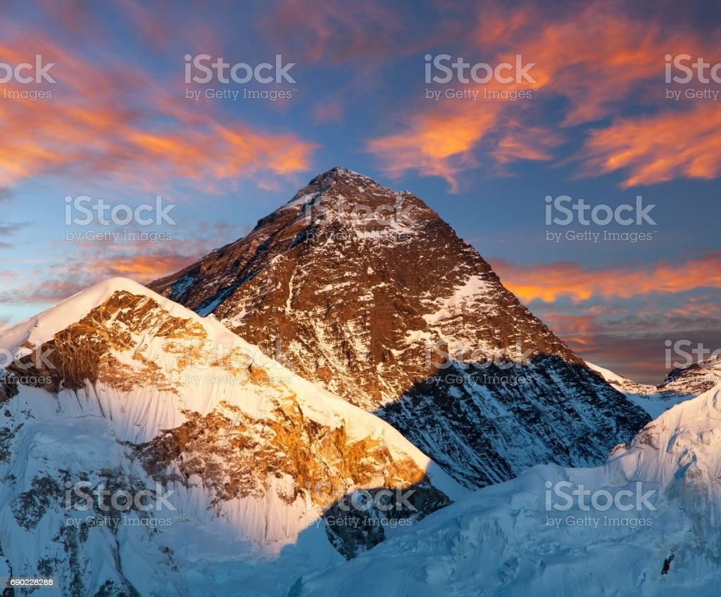 Evening colored view of Mount Everest from Kala Patthar stock photo