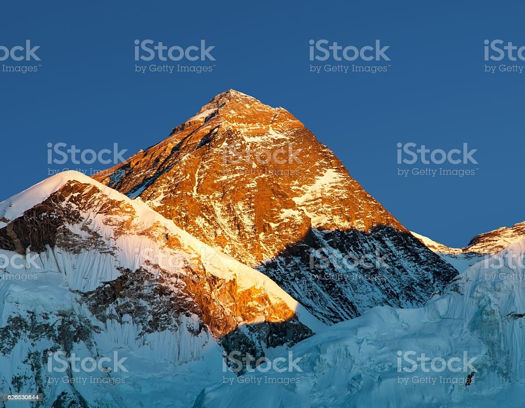 Evening colored view of Mount Everest from Kala stock photo